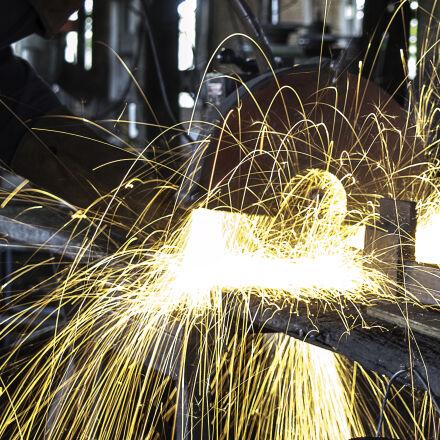 long, exposure, sparks, welding, Nikon D3200