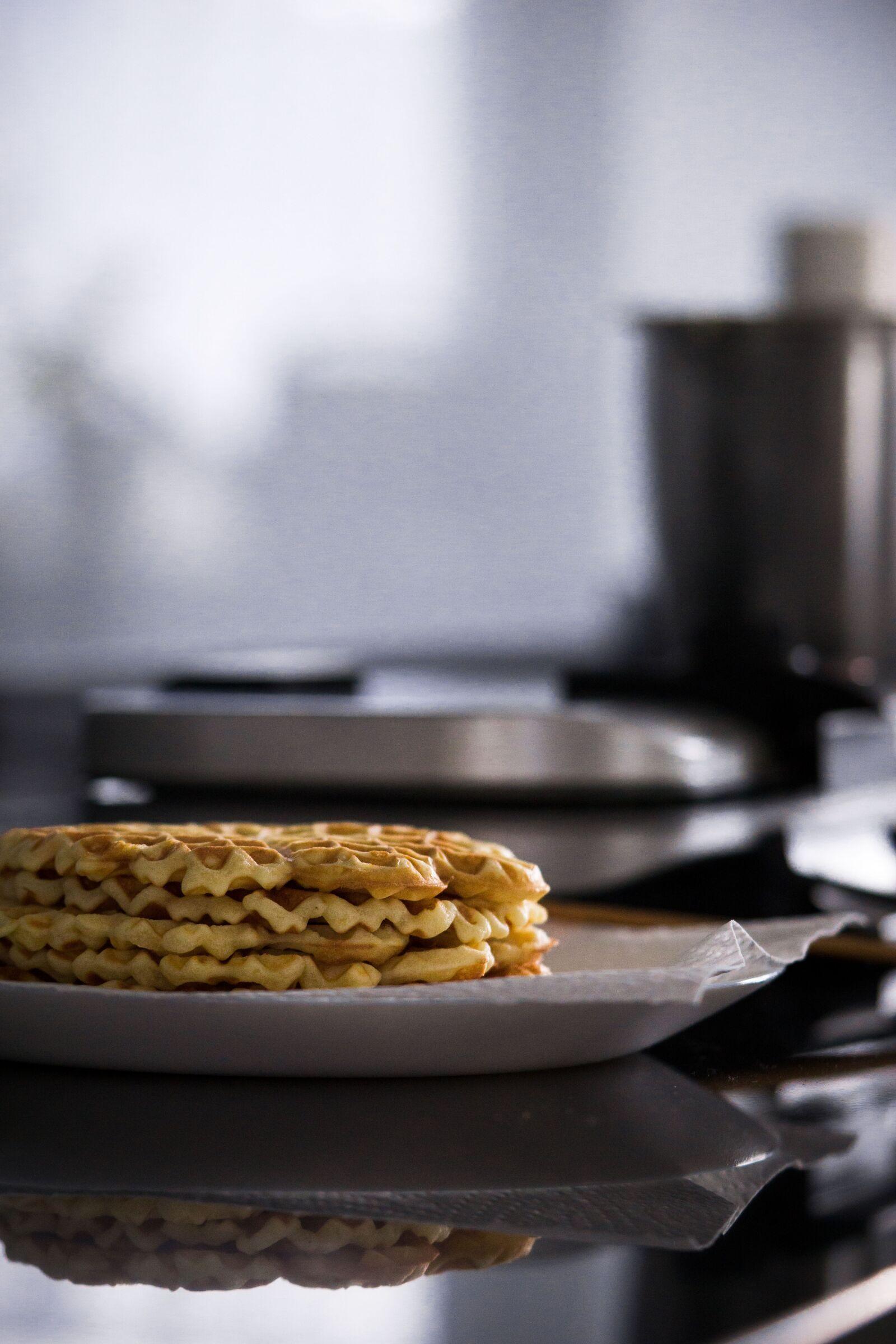 "Sony a6000 sample photo. ""Waffles, eat, homemade"" photography"