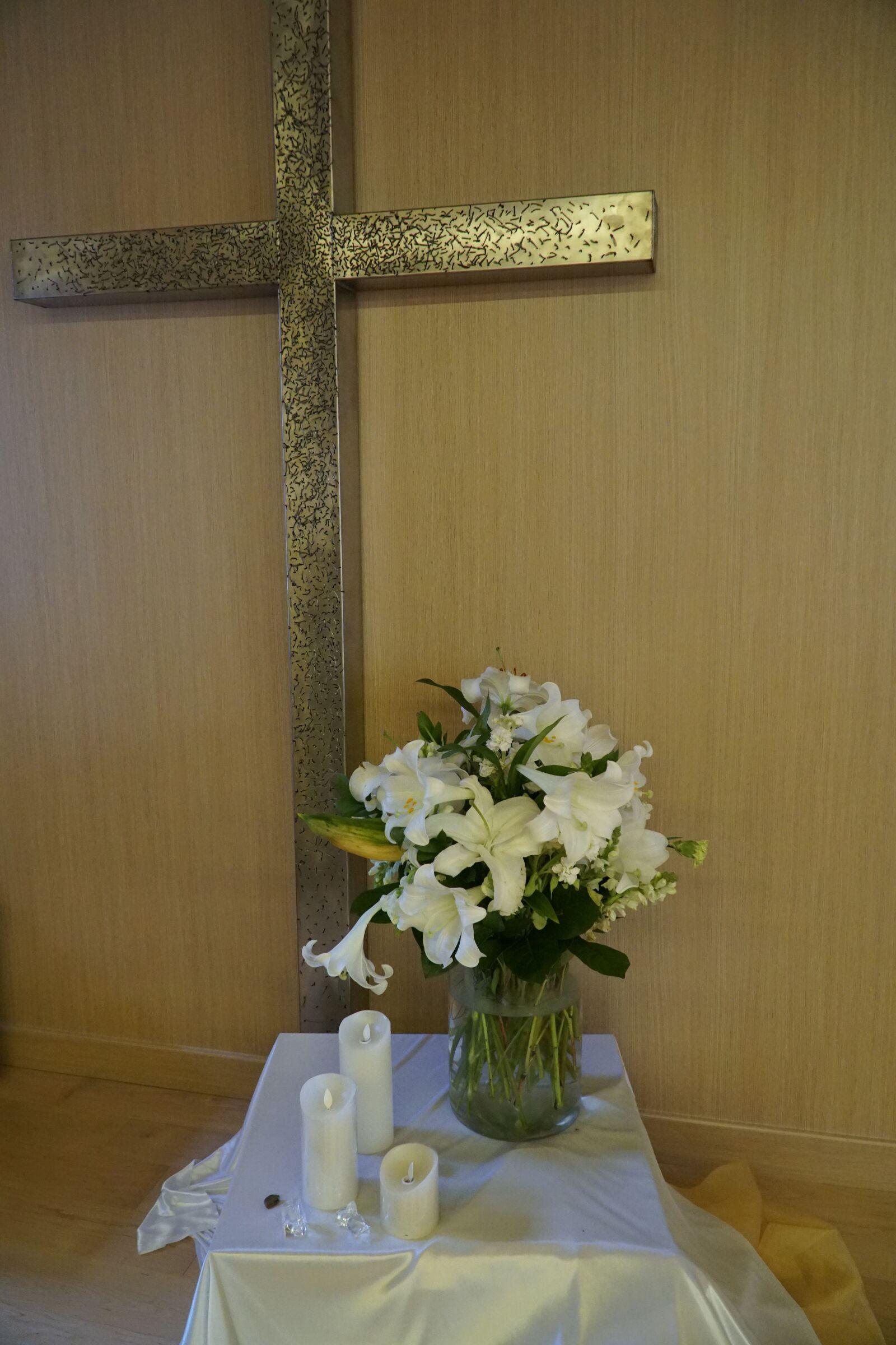 "Sony a6500 sample photo. ""Cross, flowers, christian"" photography"