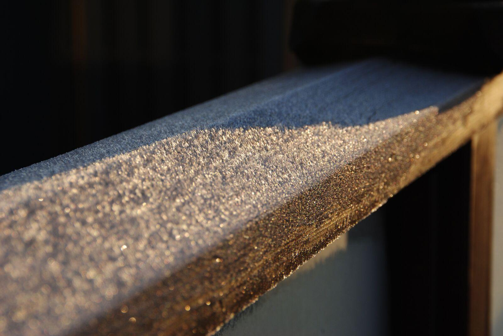 "Nikon D3000 sample photo. ""Frost, patio, wood"" photography"