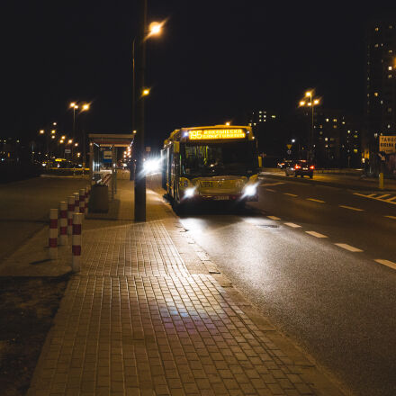 black, bus, city, dark, Sony ILCE-6000