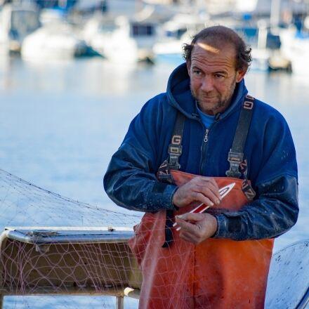 fisherman, boat, fish net, Pentax K10D