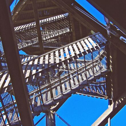 stairs, metal, construction, architecture, Fujifilm FinePix A345