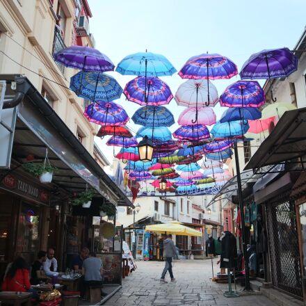 umbrellas, summer, pleasure, Canon EOS M50