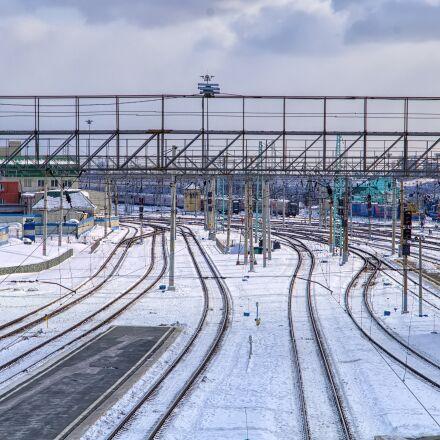 station, snow, railway, Pentax K-500