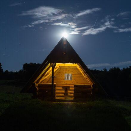 night, moon, hut, Canon EOS 6D