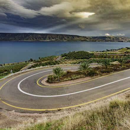 curve, asphalt, road, near, Nikon D750