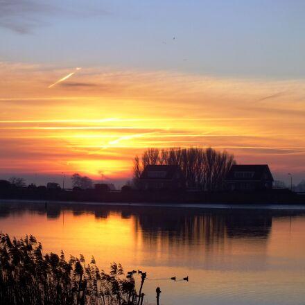 morning light, ijssel, water, Fujifilm FinePix HS25EXR