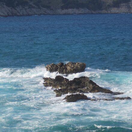 rock, water, sea, Nikon COOLPIX L29