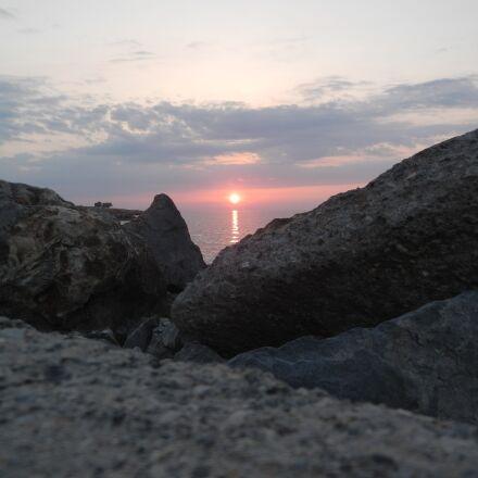 crete, sunset, rocks, Nikon COOLPIX S800c