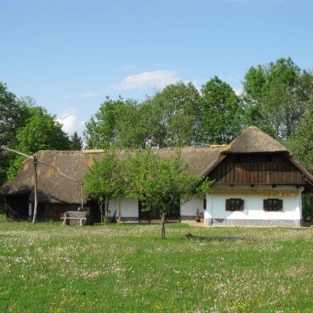 farmhouse, farm, grass roof, Canon IXY DIGITAL 20 IS