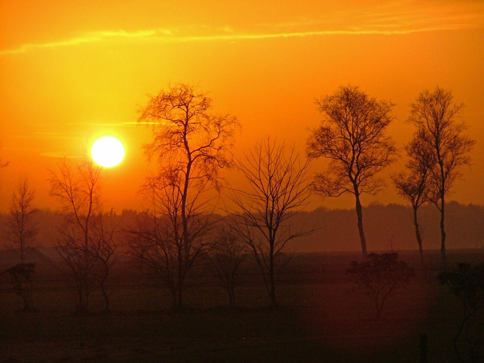 sunset, winter, landscape