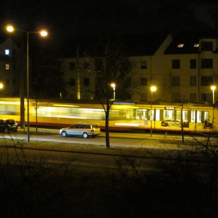 unfinished, trams, night, Canon POWERSHOT A1200