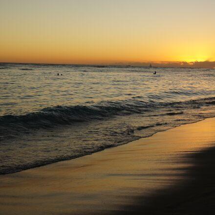 sunset, beach, sea, Sony NEX-5N
