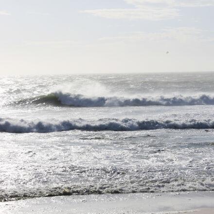 kiteboarder, waves, windy, beach, Canon EOS 1100D
