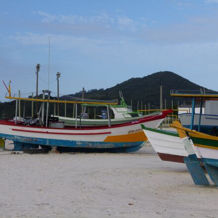 boats, beach, wooden boat, Panasonic DMC-FH8