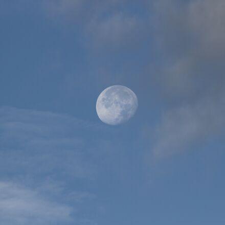 moon, sky, blue, Canon EOS 7D