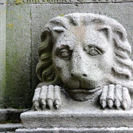 lion, night, sculpture, stone, Nikon D40X