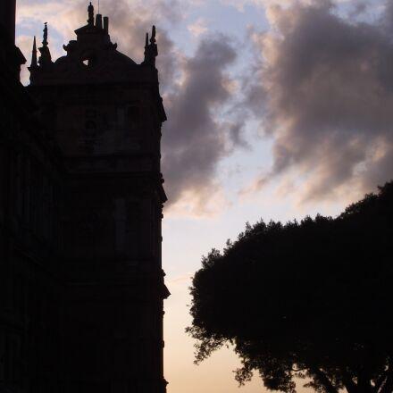 silhouette, building, sky, Fujifilm FinePix S1850