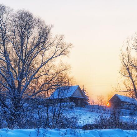 winter, village, sunset, Pentax K-500