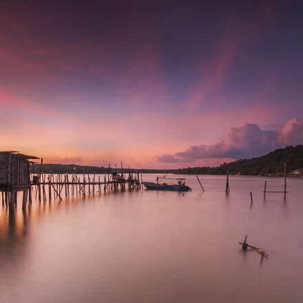jetty, sea, dawn, nature, Nikon D90