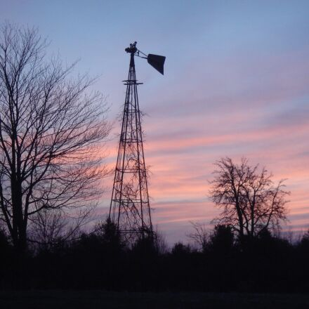windmill, sunrise, sky, Sony DSC-T10