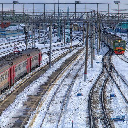 railway, winter, train, Pentax K-500