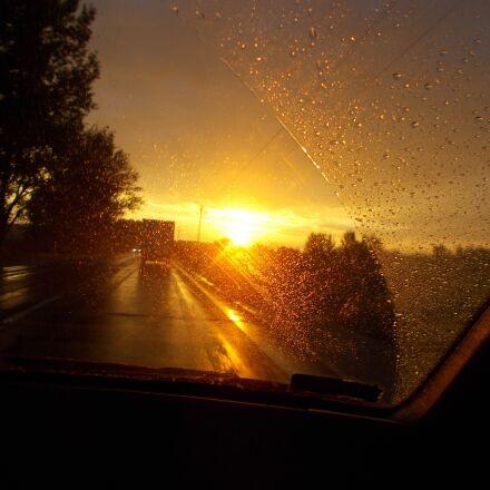 sunset, hungary, road, Nikon COOLPIX L29