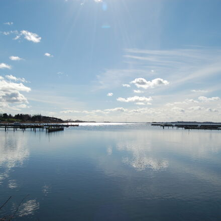 sea, sky, sun, water, Nikon D50