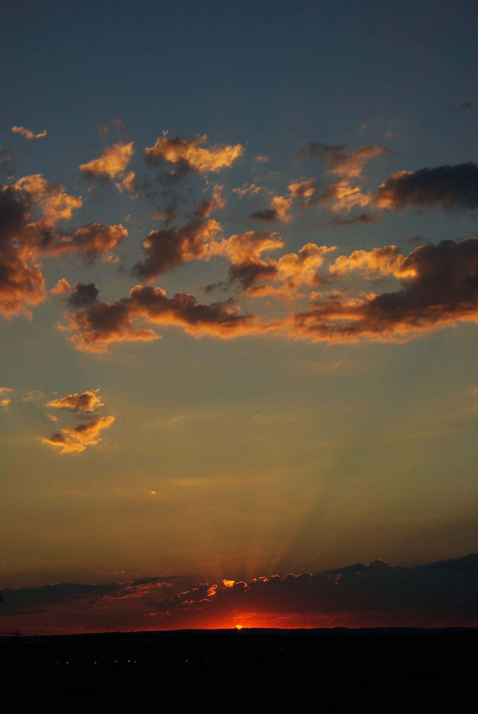 "Pentax K10D sample photo. ""Clouds, orange, sky, south"" photography"