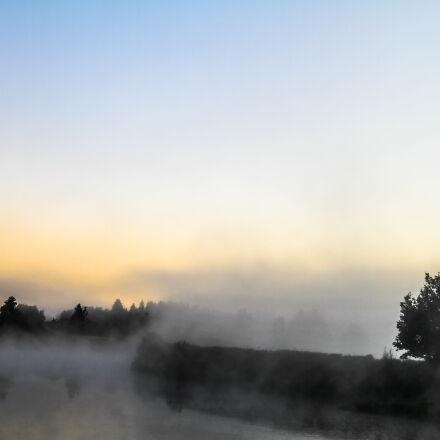 dawn, fog, night, river, Canon EOS 7D