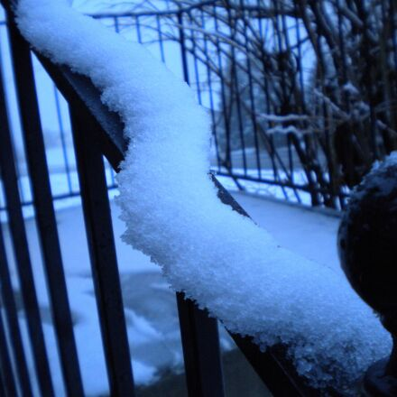 winter, snow, banister, Nikon COOLPIX S220