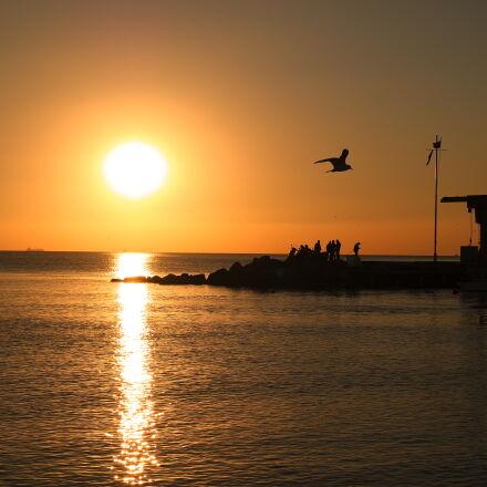 sea, sunset, sun, evening, Samsung NX3000
