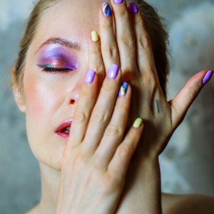 girl, makeup, manicure, Fujifilm X-E1