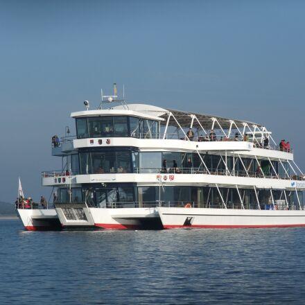 ferry, boat, lake, Fujifilm FinePix F100fd