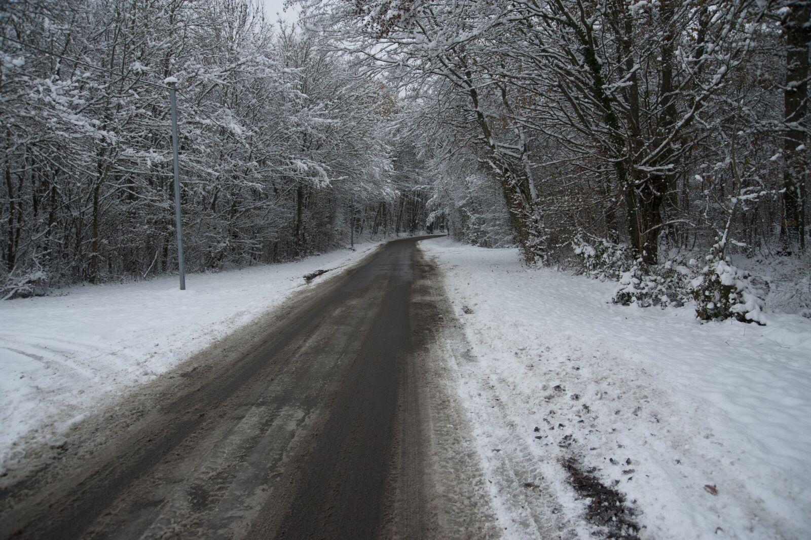 "Nikon D700 sample photo. ""Road, snowy, winter"" photography"