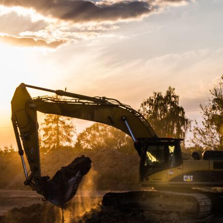 excavator, sand, sunset, Canon EOS 7D