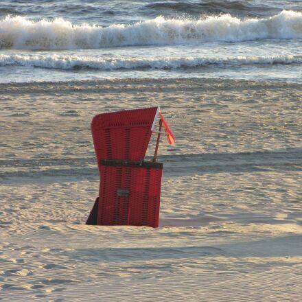 beach chair, red, baltic, Canon POWERSHOT SX1 IS