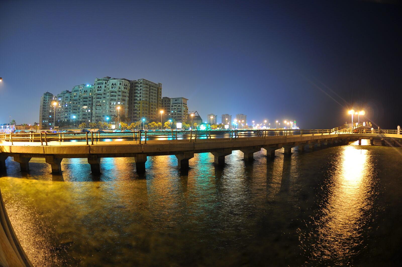 bridge, buildings, city, night photography