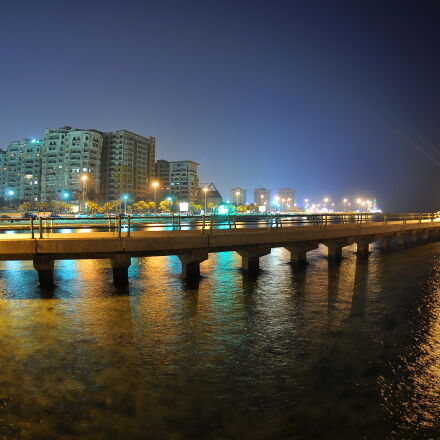 bridge, buildings, city, night, Nikon D90
