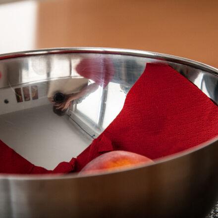 bowl, peach, reflection, reflections, Nikon D40X