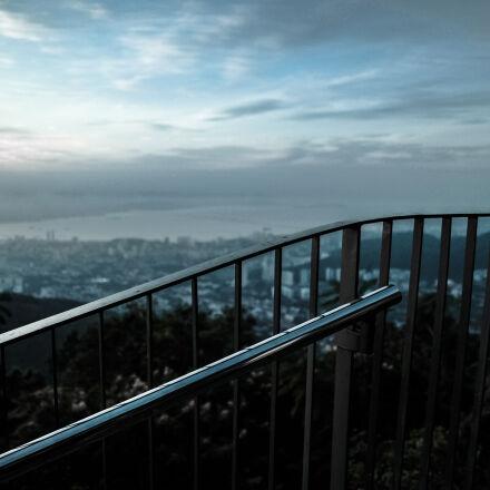 blue, clouds, dawn, fence, Samsung NX1