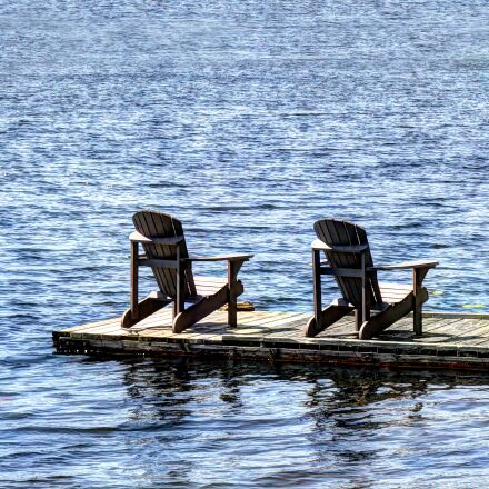 lake, dock, chairs, Canon EOS 60D