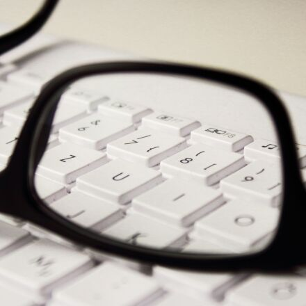 glasses, keyboard, workplace, Canon EOS 1300D