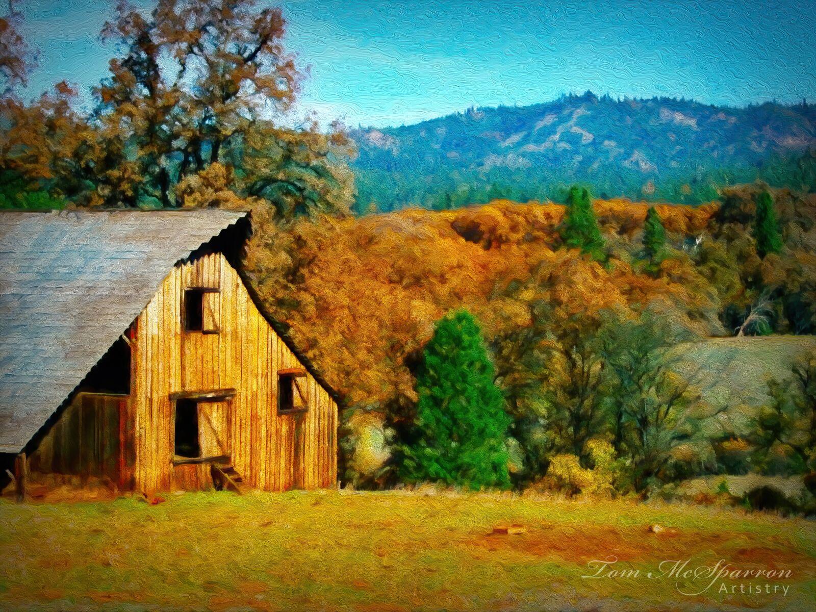 barn, mountainside, autumn