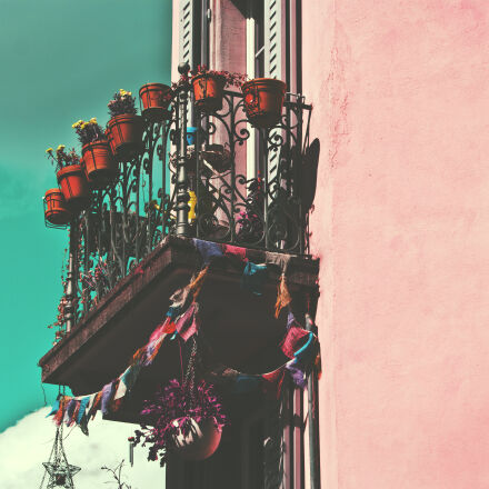 balcony, building, flowers, pink, Canon EOS 60D