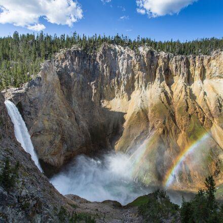 double rainbow, waterfall, yellowstone, Canon EOS 5D MARK III