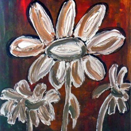 painted daisies, acrylic paint, Nikon COOLPIX S5100