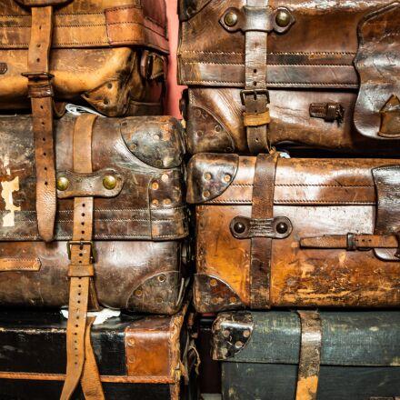 old, luggage, antique, Nikon D3200
