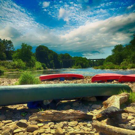 river, canoe, landscape, Apple iPhone 6s